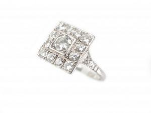 Antique Art Deco 1.30ct Diamond Square Cluster Ring
