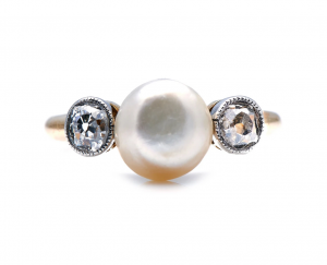 Antique Edwardian Natural Pearl and Diamond Ring
