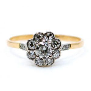 Antique Edwardian Old Mine Cut Diamond Cluster Ring