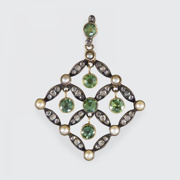 Antique Edwardian Peridot Pearl and Diamond Pendant