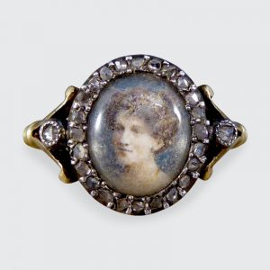 Antique Edwardian Portrait Ring with Rose Cut Diamonds