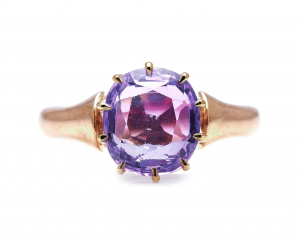 Antique Victorian 3.20cts Pink Sapphire 15ct Gold Ring