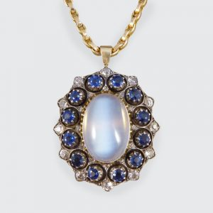 Antique Victorian Moonstone Sapphire & Diamond Pendant Necklace