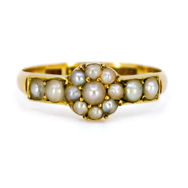 Antique Victorian Natural Pearl Cluster Ring
