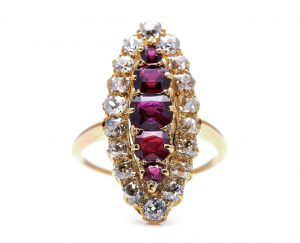 Antique Victorian Ruby and Diamond Navette Cluster Ring
