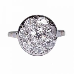 Antique Edwardian Old Cut Diamond Cluster Ring, 1910