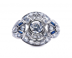 Art Deco Antique French Diamond and Sapphire Bombé Ring