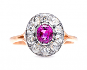 Art Deco Antique Ruby and Diamond Cluster Ring