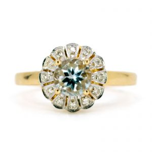 Art Deco Style Aquamarine and Diamond Ring