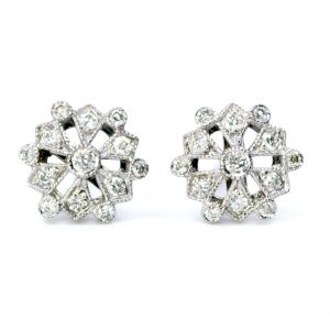 Contemporary Diamond Cluster 18ct White Gold Earrings