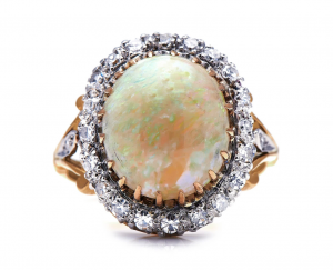 Edwardian Antique 5cts Opal and Diamond Cluster Ring