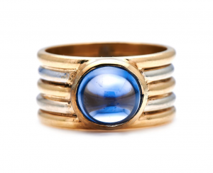 French Vintage Cabochon Sapphire Band Ring, 1930s
