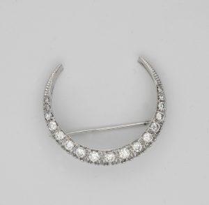 Vintage 1.60ct Brilliant Cut Diamond Crescent Moon Brooch/Pendant