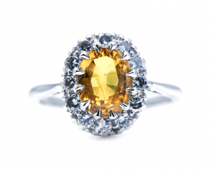 Vintage 2.30cts Yellow Sapphire and Diamond Cluster Ring
