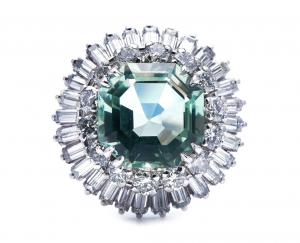 Vintage Mint Quartz and Diamond Cocktail Ring