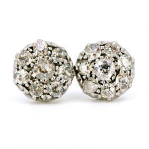Vintage Old Mine Cut Diamond Cluster Earrings