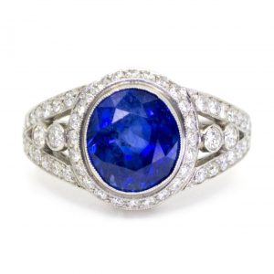 Vintage Sapphire and Diamond Cluster Platinum Ring