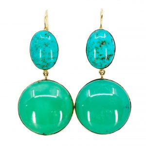 Vintage Turquoise Gold Drop Earrings