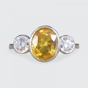 Yellow Sapphire and Diamond Three Stone Platinum Ring
