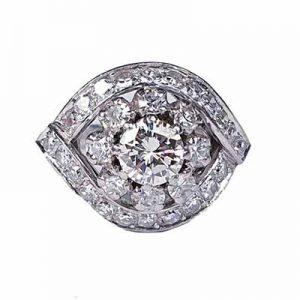 Art Deco Bombe Diamond Dress Engagement Ring, 1930's