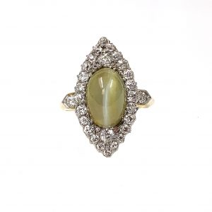 Antique Cats Eye Chrsyoberyl and Diamond Cluster Ring, Victorian