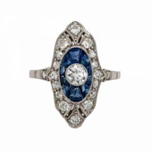 Art Deco Sapphire and Diamond Dress Ring, 1920's