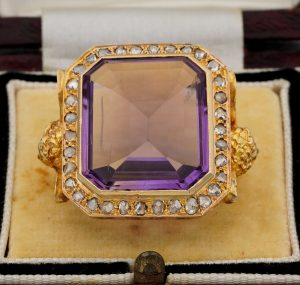 Rare and Imposing Antique Victorian Amethyst and Diamond Angel Bishop Ring