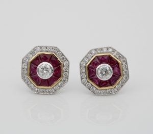 Art Deco Style 1.40ct Natural Ruby and Diamond Target Stud Earrings