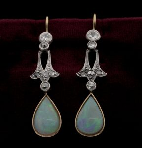 Antique Edwardian Opal and Diamond Silver on Gold Drop Earrings