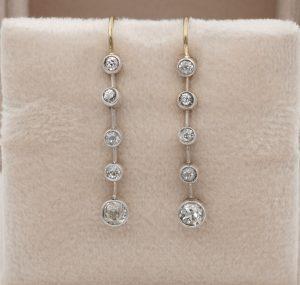 Antique Victorian 1.10ct Old Mine Cut Diamond Bar Line Drop Earrings
