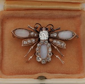 Antique Victorian Opal and Diamond Bee Brooch Pendant