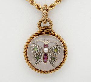 Antique Victorian French Rock Crystal Diamond Pearl Rare Locket Pendant