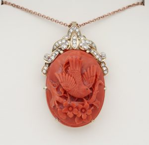 Vintage Carved Bird Coral and Diamond Large Pendant Brooch