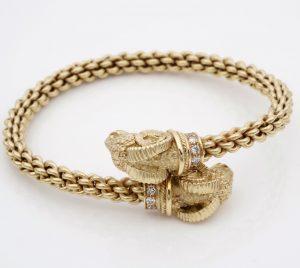 Vintage Etruscan Revival Style Rams Head Diamond Set Bangle