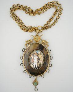 Vintage Attilio Codognato Memento Mori Double Face Medallion and Chain