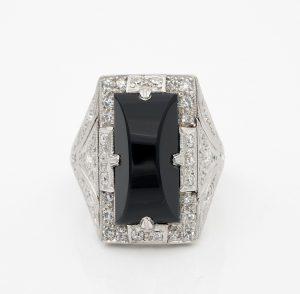 Vintage Art Deco Black Onyx Diamond Platinum Cocktail Ring