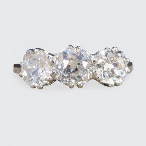 1.70ct Old Cut Diamond Three Stone Ring