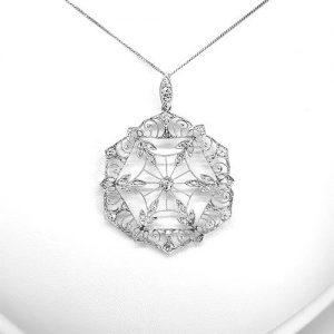 Geometric Snowflake Diamond Pendant in Platinum