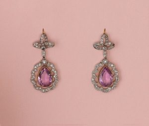 Antique Edwardian Pink Topaz and Diamond Cluster Drop Earrings