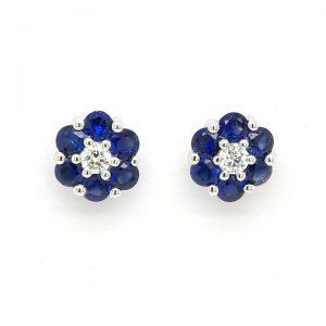 Pair of Sapphire and Diamond Flower Cluster Stud Earrings