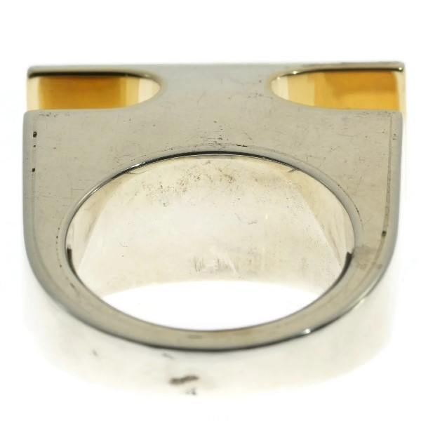 Vintage Chris Steenbergen Silver and Gold Ring