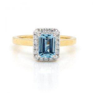 Emerald Cut Aquamarine and Diamond Cluster Ring, 0.90 carats