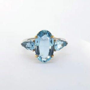 Oval Cut Aquamarine Ring with Pear Cut Shoulders, 6.50 carats