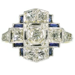 Antique Art Deco Engagement Ring with Diamonds and Sapphires