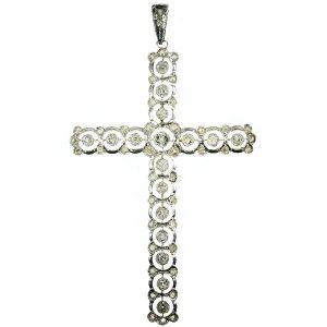 Antique Belle Epoque Diamond Cross Pendant