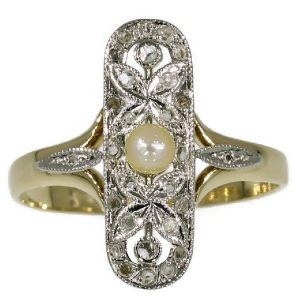 Antique Belle Epoque Ring with Rose Cut Diamonds and Pearl