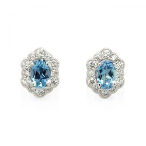 Aquamarine and Diamond Cluster Stud Earrings in 18ct White Gold
