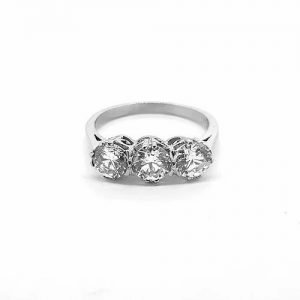 Three Stone Diamond Ring in Platinum, 1.63 carat total