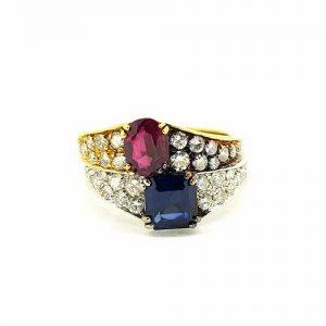 Vintage Ruby, Sapphire and Diamond Bi-Colour Gold Ring, Circa 1970s