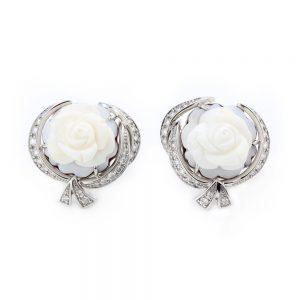 Breguet Rose de la Reine Carved Cameo and Diamond Earrings